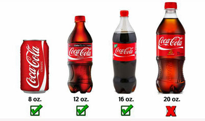 several sizes of Coca Cola