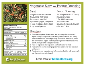 Vegetable Slaw with Peanut Dressing-single